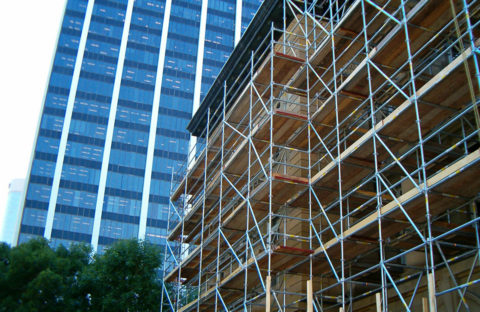 An image of scaffold outside the Macdougall Centre in Calgary.