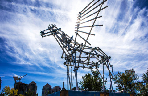 An image of Armour Equipment's Pegasus scaffold sculpture at Beakerhead, Calgary.