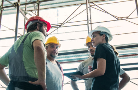 An image of a team of engineers and scaffolders discussing a plan.